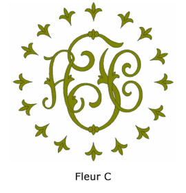 Chain Stitch Monograms Fleur C